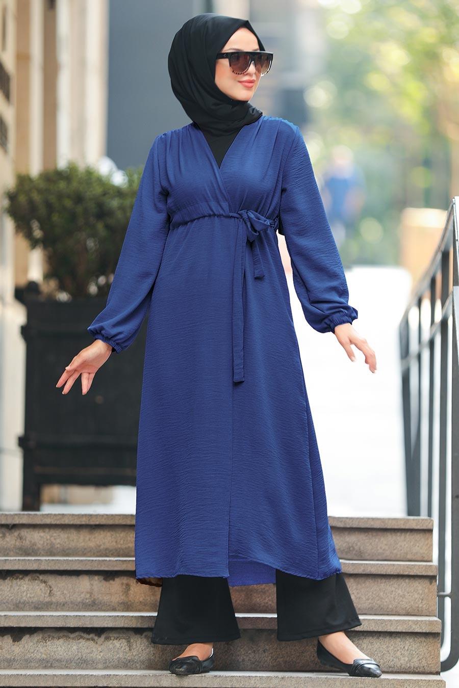 Neva Style - Yandan Bağlamalı İndigo Mavisi Tesettür Kap 3745IM