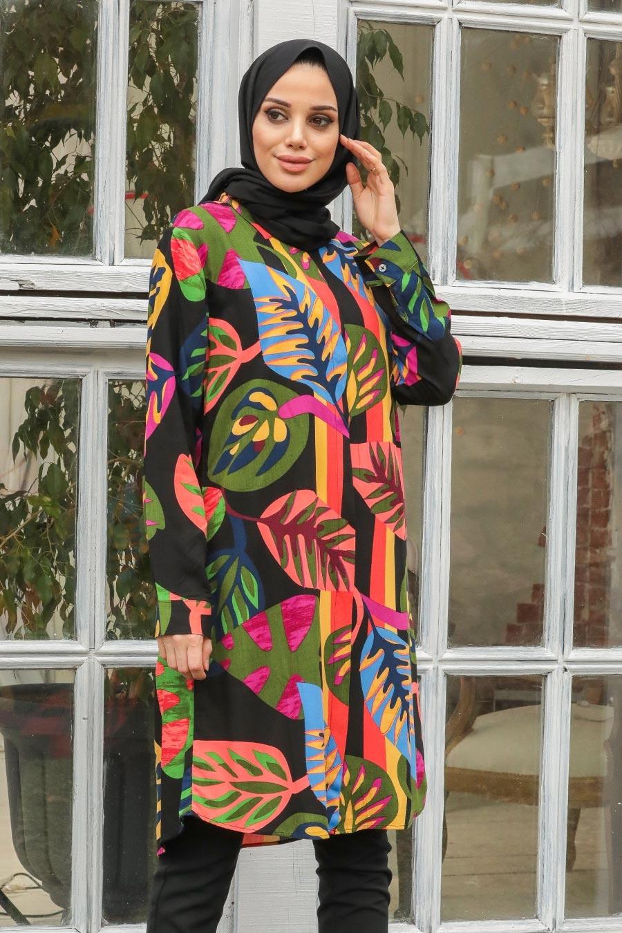 Neva Style - Yaprak Desenli Siyah Tesettür Tunik 60196S