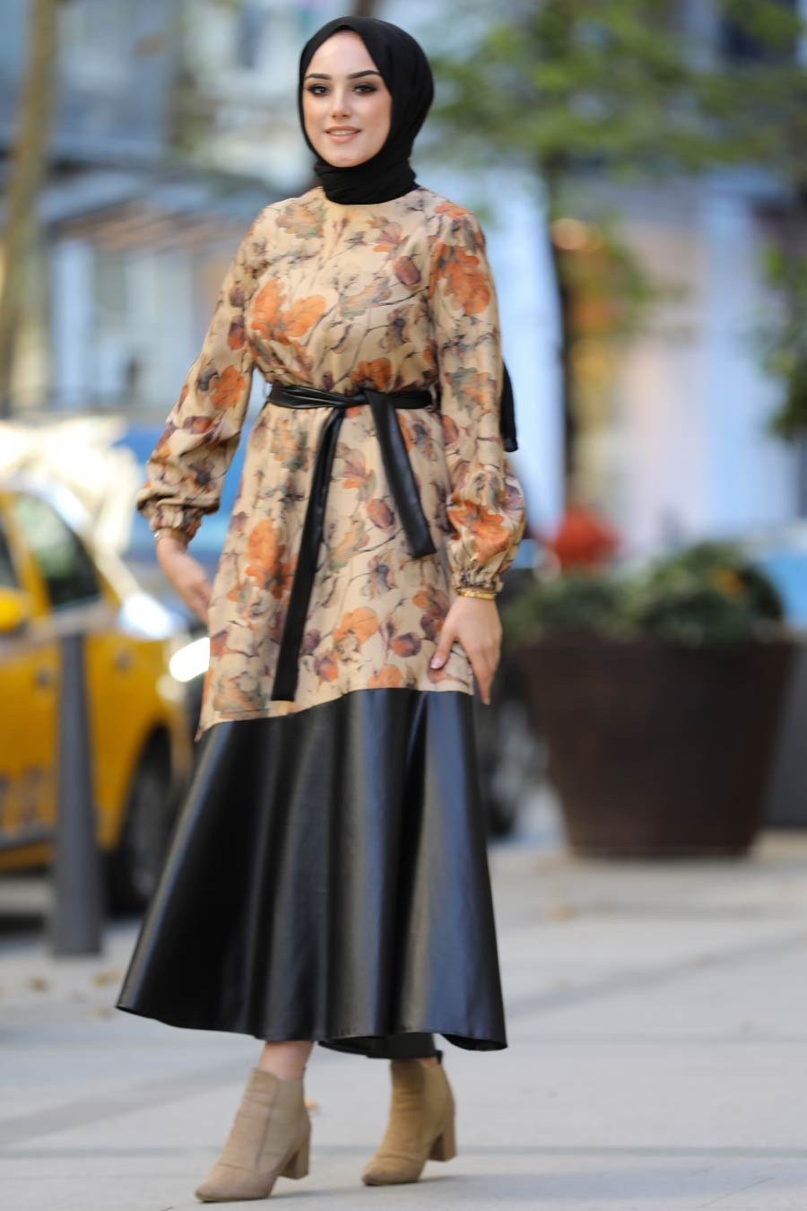 Neva Style - Yaprak Desenli Taba Tesettür Elbise 7635TB