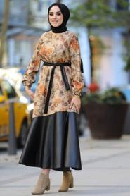 Neva Style - Yaprak Desenli Taba Tesettür Elbise 7635TB - Thumbnail