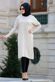 Neva Style - Yarasa Kol Bej Tesettür Triko 15072BEJ - Thumbnail