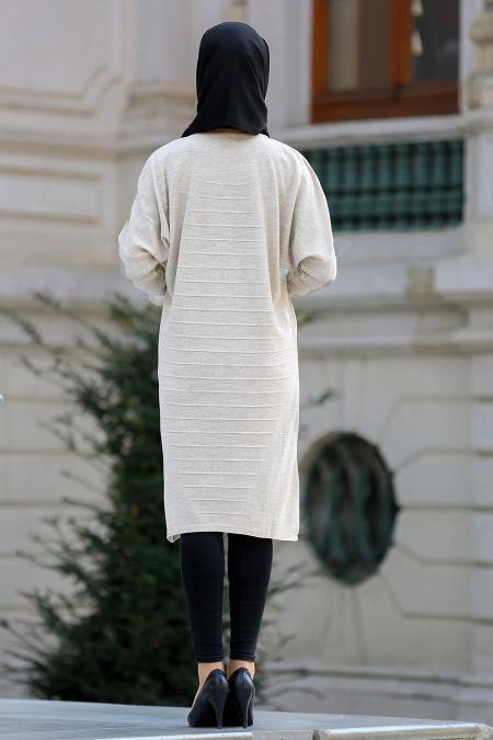 Neva Style - Yarasa Kol Bej Tesettür Triko 15072BEJ