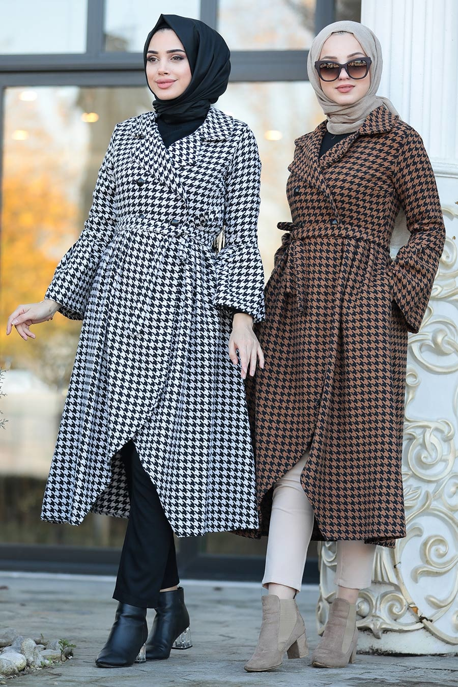Neva Style - Yellowish Brown Hijab Coat 50771TB