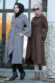 Neva Style - Yellowish Brown Hijab Coat 50771TB - Thumbnail