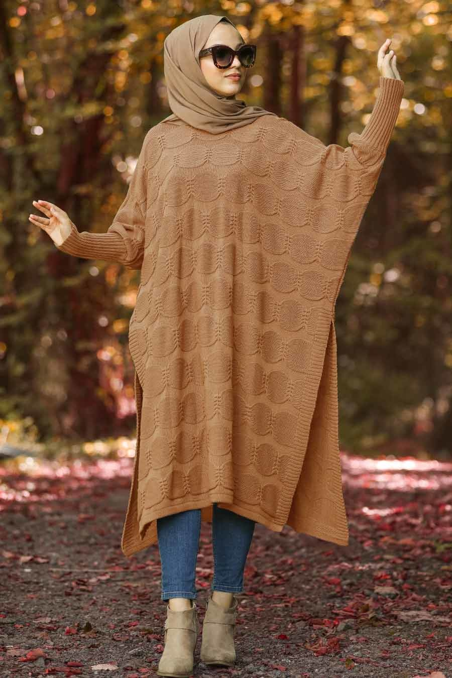 Neva Style - Yellowish Brown Hijab Knitwear Poncho 15652TB