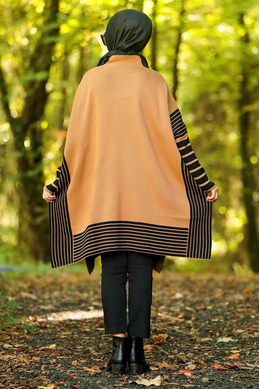 Neva Style -Yellowish Brown Hijab Knitwear Poncho-15658TB-1