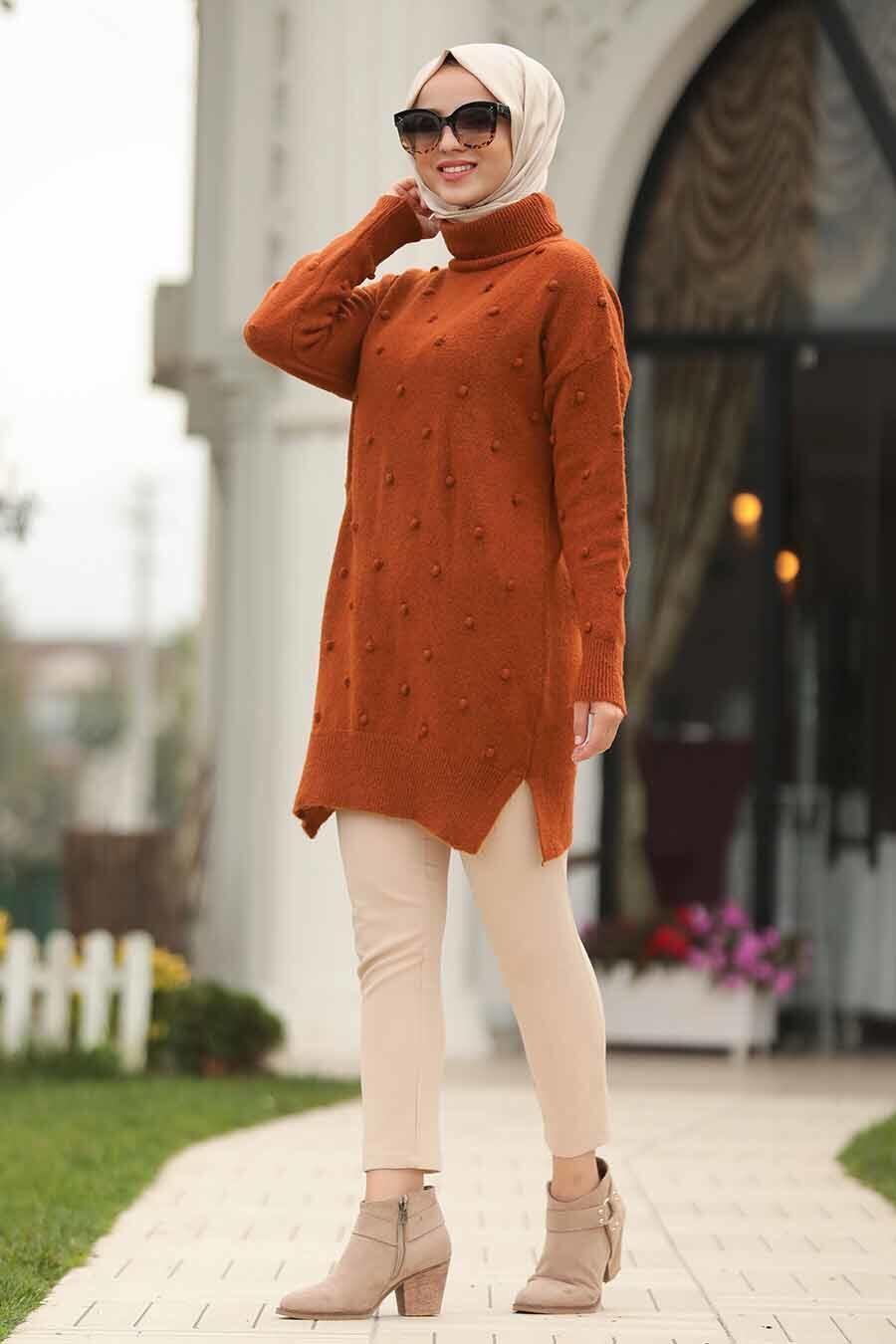 Neva Style - Yellowish Brown Hijab Sweater 15709TB