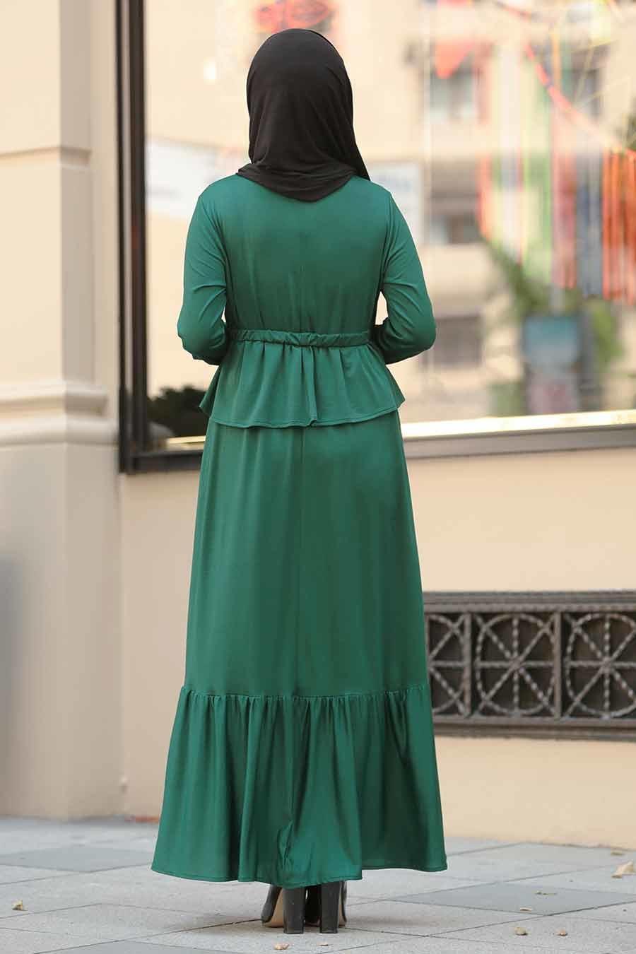 Neva Style - Yeşil Tesettür Elbise 1590Y