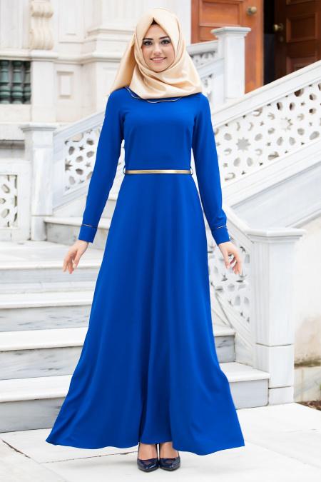 New Kenza - Bebe Yakalı Sax Mavisi Elbise