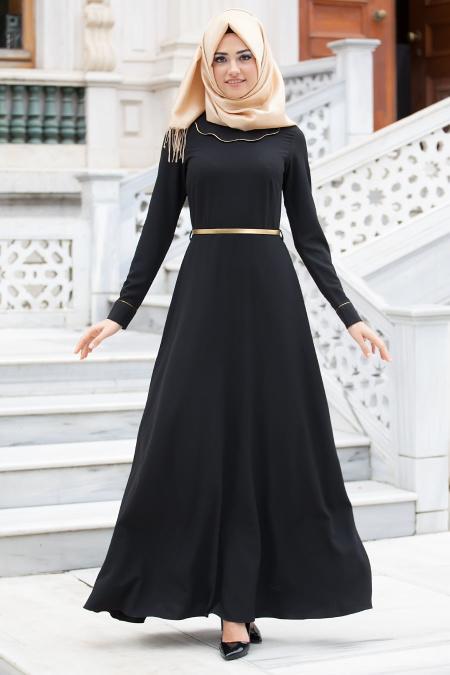 New Kenza - Bebe Yakalı Siyah Elbise