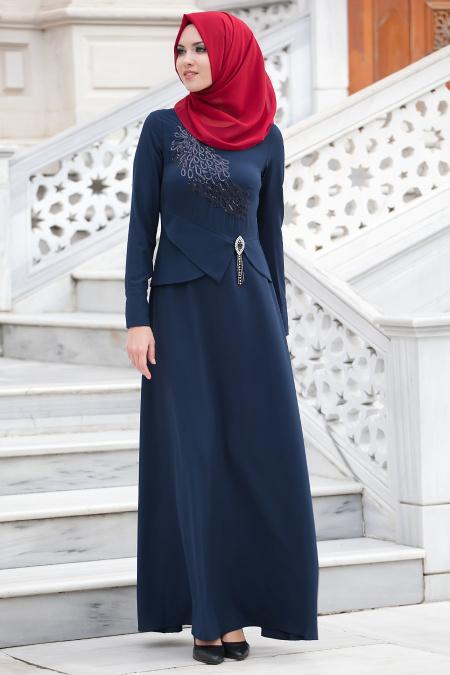 New Kenza -Beli Taş Detaylı Lacivert Abiye Elbise