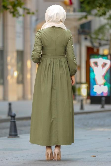 New Kenza - Boncuk Detaylı Kemerli Fıstık Yeşili Tesettür Elbise 3158FY