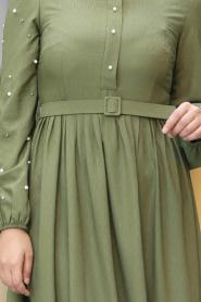 New Kenza - Boncuk Detaylı Kemerli Fıstık Yeşili Tesettür Elbise 3158FY - Thumbnail
