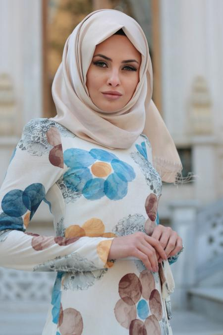 New Kenza - Çiçek Desenli Mavi Tesettür Elbise 3078M
