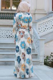 New Kenza - Çiçek Desenli Mavi Tesettür Elbise 3078M - Thumbnail