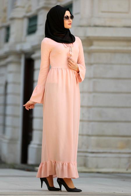 New Kenza - Fırfırlı Somon Tesettür Elbise 3095SMN