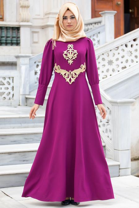 New Kenza - Fuşya Abiye Elbise