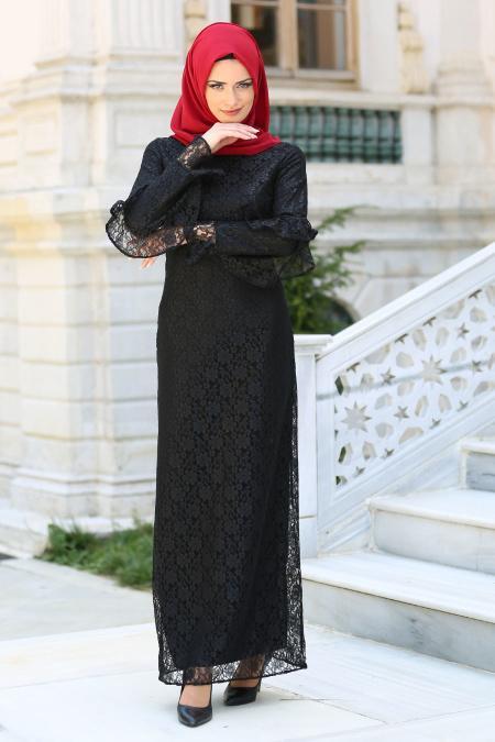 New Kenza - Kolları Fırfırlı Siyah Dantel Tesettür Elbise 3070S
