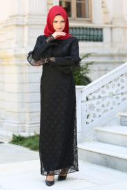 New Kenza - Kolları Fırfırlı Siyah Dantel Tesettür Elbise 3070S - Thumbnail