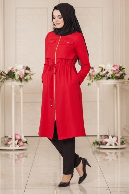 New Kenza - Red Hijab Coat 4923K