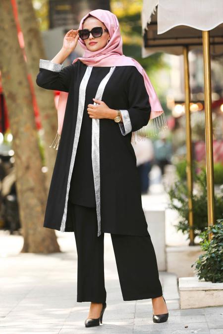 New Kenza Serit Detayli Ceket Pantolon Siyah Tesettur Takim 5115s Tesetturisland Com