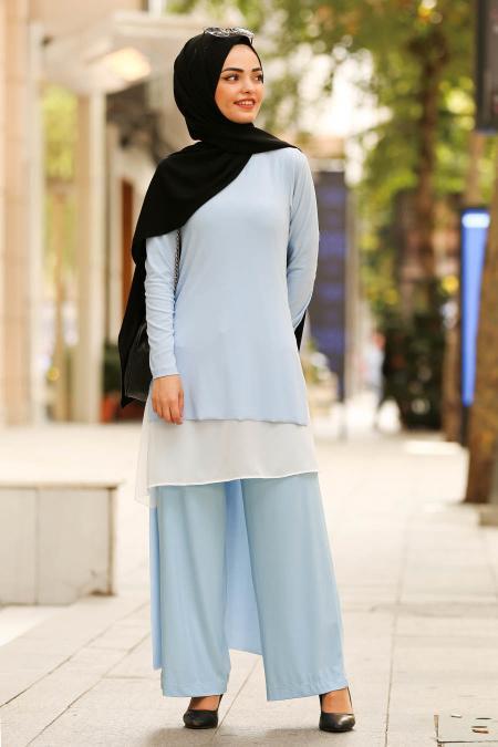 New Kenza- Tunik & Pantolon İkili Bebek Mavisi Tesettür Takım 51191BM