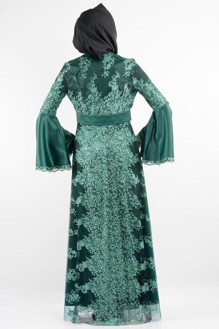 Nurdan - Dantel Detaylı Yeşil Tesettür Elbise 766Y