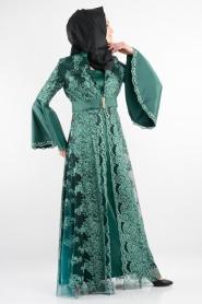 Nurdan - Dantel Detaylı Yeşil Tesettür Elbise 766Y - Thumbnail