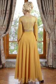 ÖzDuman - Kemer Görünümlü Hardal Elbise - Thumbnail
