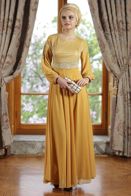 ÖzDuman - Kemer Görünümlü Hardal Elbise