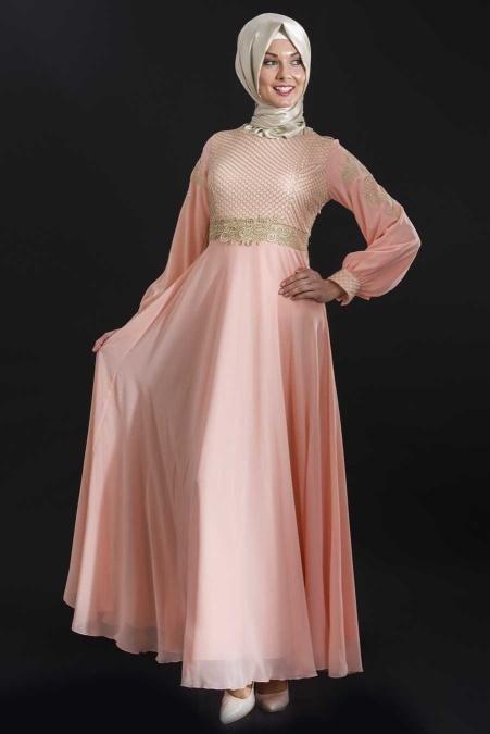 ÖzDuman - Kemer Görünümlü Somon Elbise