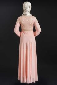 ÖzDuman - Kemer Görünümlü Somon Elbise - Thumbnail