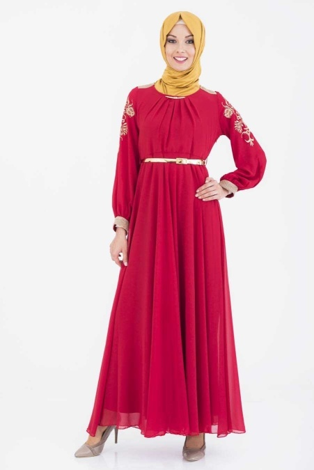 ÖzDuman - Kolları İşlemeli Kırmızı Elbise