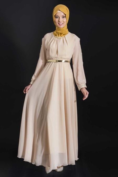 ÖzDuman - Önü Büzgülü Bej Elbise