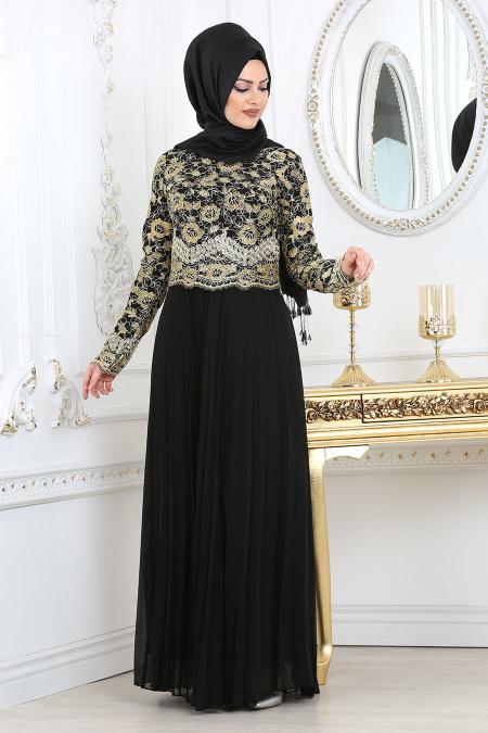 Siyah Tesettür Abiye Elbise 6991S