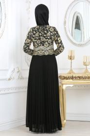 Siyah Tesettür Abiye Elbise 6991S - Thumbnail
