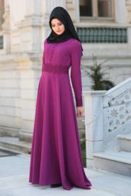 Puane - Beli Dantel Detaylı Fuşya Tesettür Abiye Elbise 8082F - Thumbnail