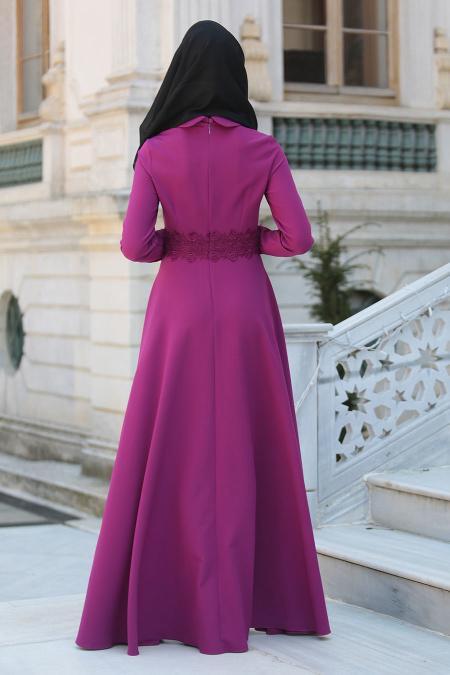 Puane - Beli Dantel Detaylı Fuşya Tesettür Abiye Elbise 8082F