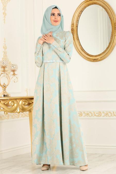 Puane - Desenli Mint Tesettür Abiye Elbise 81650MINT
