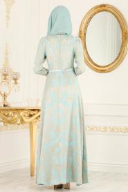 Puane - Desenli Mint Tesettür Abiye Elbise 81650MINT - Thumbnail