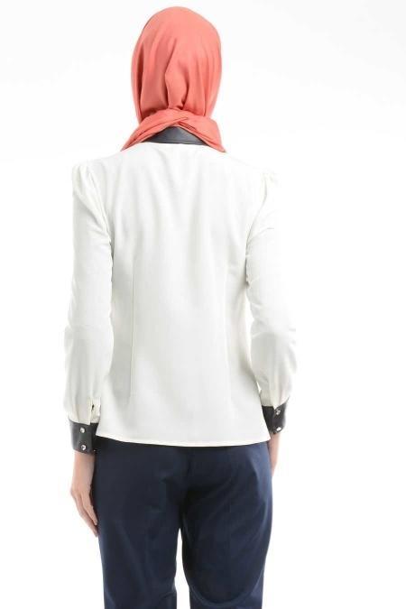 Puane - Lacivert Deri Detaylı Gömlek