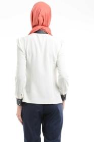 Puane - Lacivert Deri Detaylı Gömlek - Thumbnail