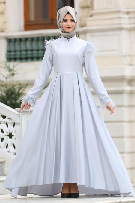 Puane - Tüy Detaylı Gri Tesettür Abiye Elbise 8181GR
