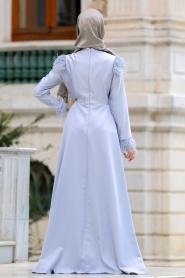 Puane - Tüy Detaylı Gri Tesettür Abiye Elbise 8181GR - Thumbnail