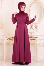Puane - Tüy Detaylı Vişne Tesettür Abiye Elbise 80710VSN - Thumbnail