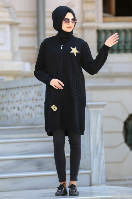S-VUP - Black Hijab Coat 39880S