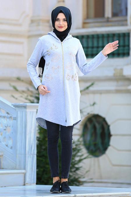 S-VUP - Grey Hijab Coat 3880GR