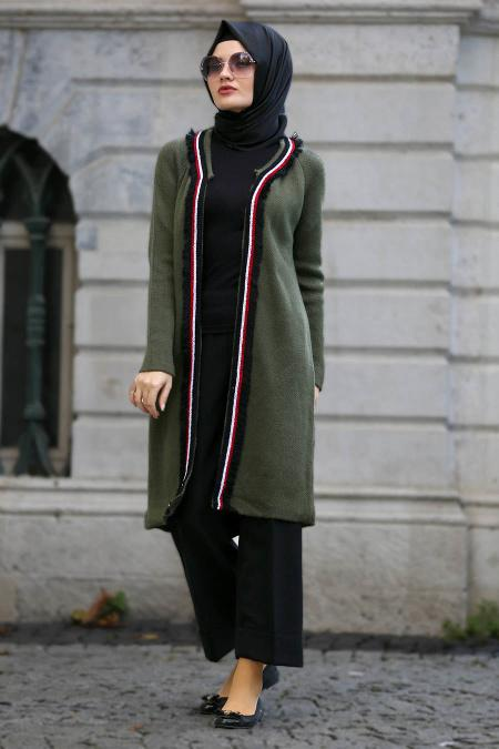 S-VUP - Khaki Hijab Trico Cardigan 4279HK