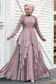 Tesettür Abiye Elbise - Fırfır Detaylı Vizon Tesettür Abiye Elbise 21850V - Thumbnail