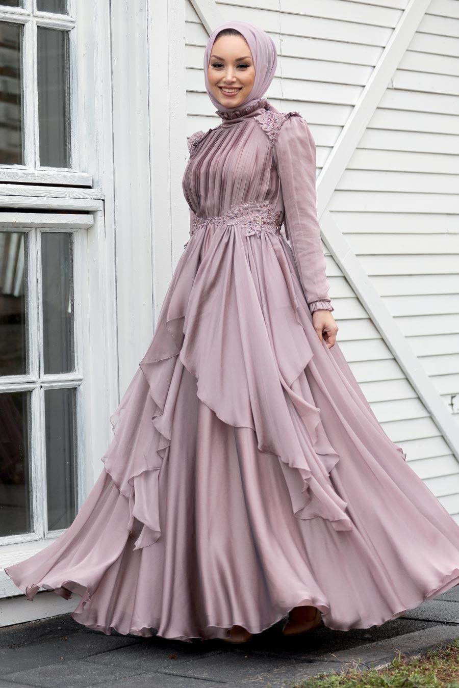 Tesettür Abiye Elbise - Fırfır Detaylı Vizon Tesettür Abiye Elbise 21850V